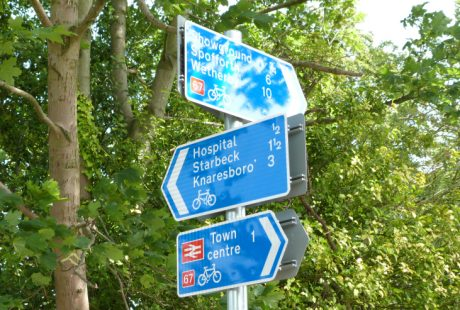 Cycle route signs on Slingsby Walk