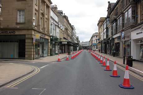Temporary Coronavirus pavement-widening Harrogate