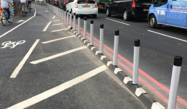 Kerb and wands as cycle lane protection