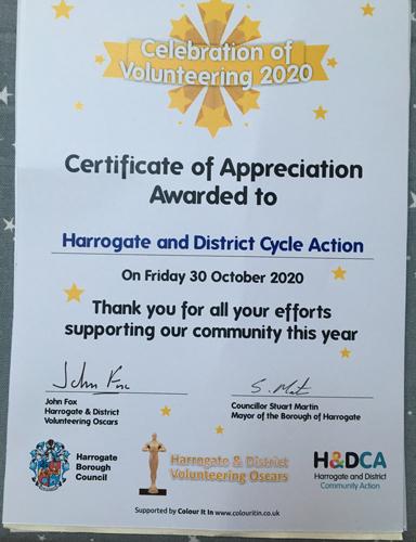 Celebration of Volunteering Certificate