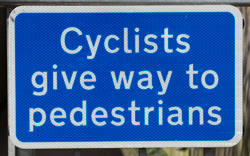 Cyclists Give Way to Pedestrians
