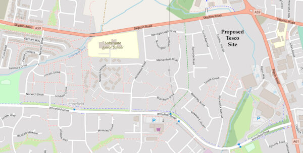 Map showing location of proposed Tesco